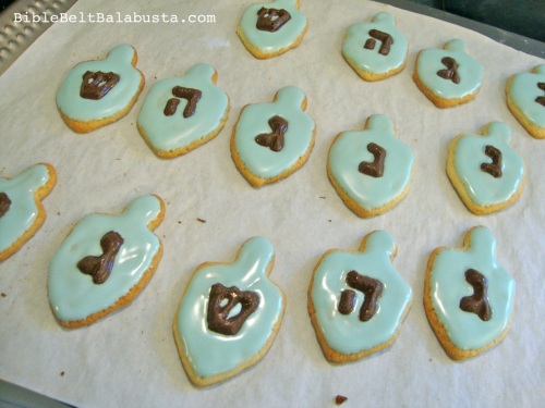 Dreidel cookies, chocolate letters