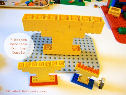 Duplo and Lego 7-branch menorahs