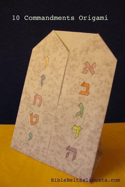 Shavuot Origami for Kids: Ten Commandments (printable) | Bible Belt ...