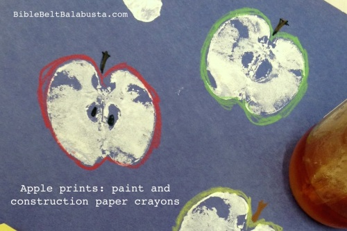 white poster paint, construction paper crayons for peel and seeds