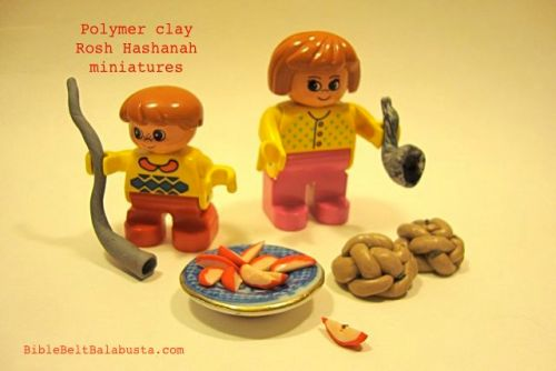 polymer clay apples, challah, shofars
