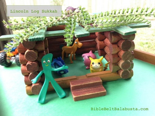 Lincoln Log sukkah. With steps for Bubbe.