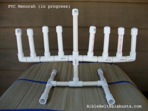 my DIY PVC menorah, so far