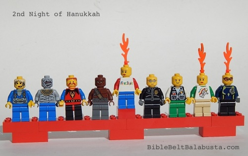 Lego minifig menorah, 2nd night
