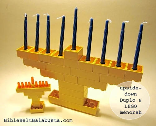 Duplo and LEGO menorahs, upside-down construction