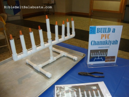 PVC menorah kit set-up