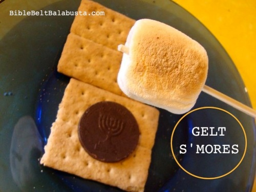 Dark chocolate Hanukkah Gelt S'more