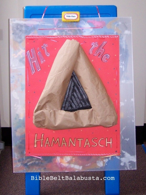 The giant hamantasch, lined with velcro (hooky side)