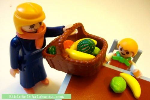 Playmobil folk preparing for a legit Tu B'Shevat seder