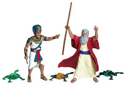 Two sets of Moses and Pharoah Action Figures ready to ship....frogs included. Photo from ChaiKids.com.
