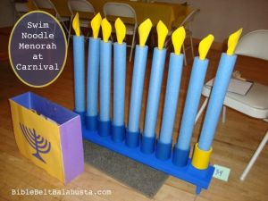Swim Noodle Menorah Station for candle and blessings practice