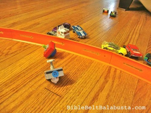 Hot Wheels track closeup