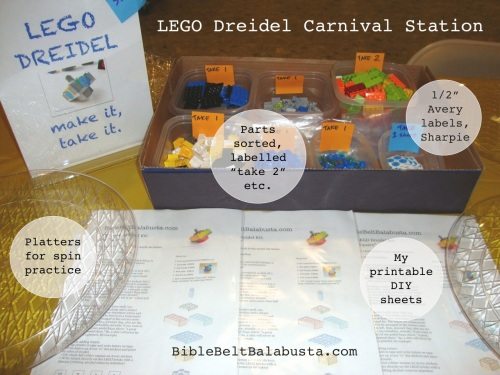 "Carnival set-up for LEGO Dreidel ""Make it, Take it"""