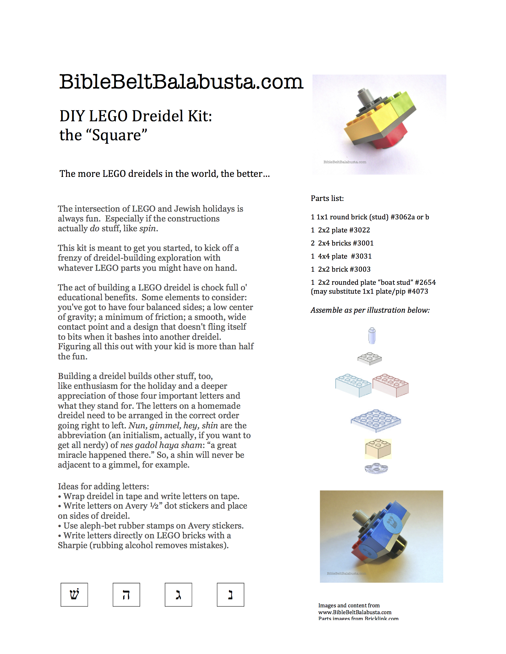 image regarding Dreidel Game Rules Printable titled Printable how-in the direction of for straightforward LEGO dreidel Bible Belt Balabusta