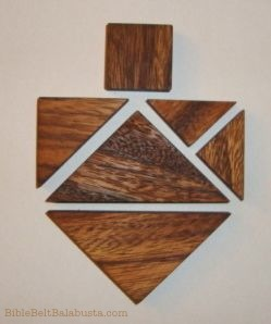 tangram dreidel in wood