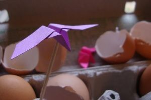 origami bird / name label