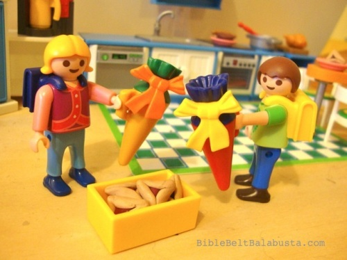 All Playmobil except the clay hamantaschen....
