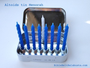 travel menorah made from Altoids tin