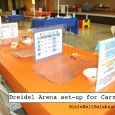 Dreidel Arena at a Carnival: just a table with shallow trays. Players sit across from each other and do dreidel battle.
