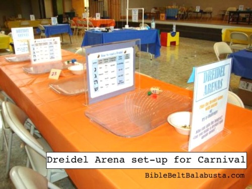 My big kid Dreidel Arena at a Carnival: just a table with shallow trays. Players sit across from each other and do dreidel battle.