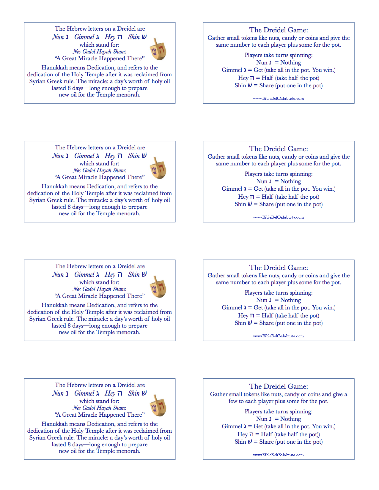photograph relating to Dreidel Game Rules Printable referred to as Printable Dreidel Recommendations (present tags) Bible Belt Balabusta