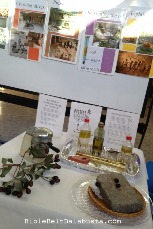 Display next to the wheel, showing stages of ancient olive oil production