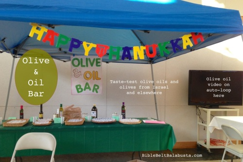Olive and Oil-tasting bar. Video of olive grove / crusher in Israel on DVD while folks eat.