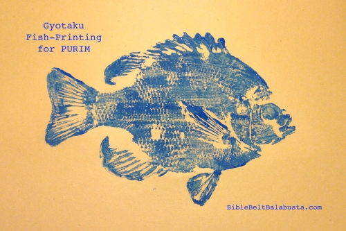 Fish-printing for Adar and Purim