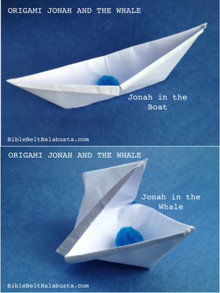 collage Jonah Whale origami