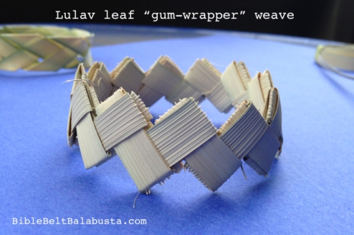 Lulav leaflets instead of Doublemint gum wrappers