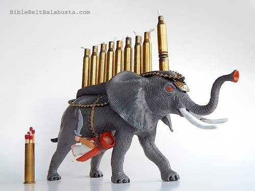 Elephant Menorah with Martyr and Matches