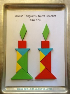 two tangram sets = 2 nerot Shabbat