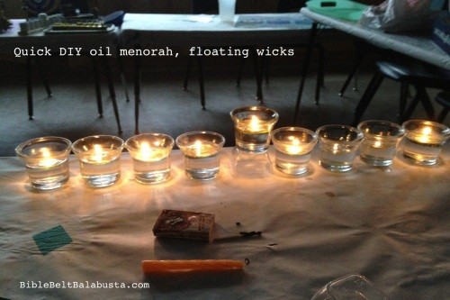 9 cups + oil + water +floating wicks = menorah