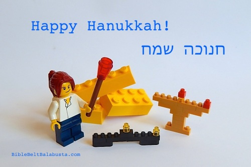 Nanoblock menorahs and LEGO minifigure