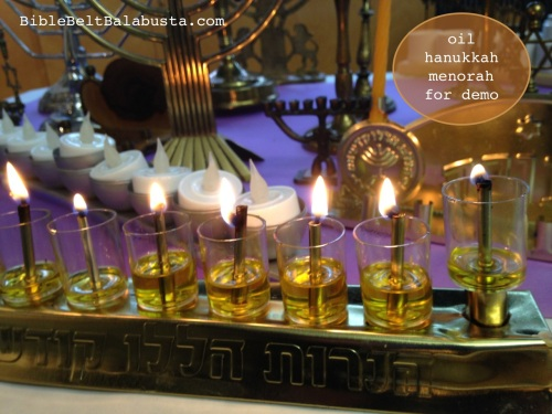 Oil menorah, cheap and visible