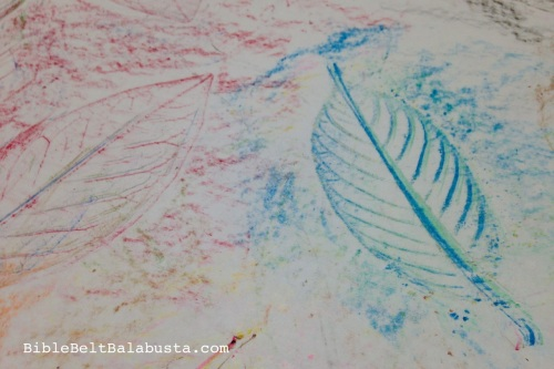 Tu B'Shevat leaf rubbing with crayons