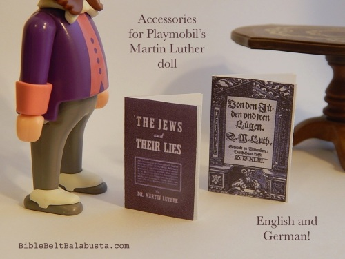 Martin Luther's treatise in English and German, Playmobil-sized!