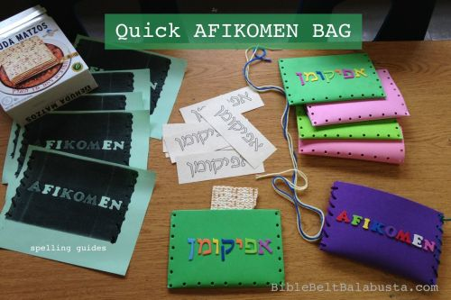 Afikomen bag materials (spelling guide, bag, labels, yarn). The purple one is finished.