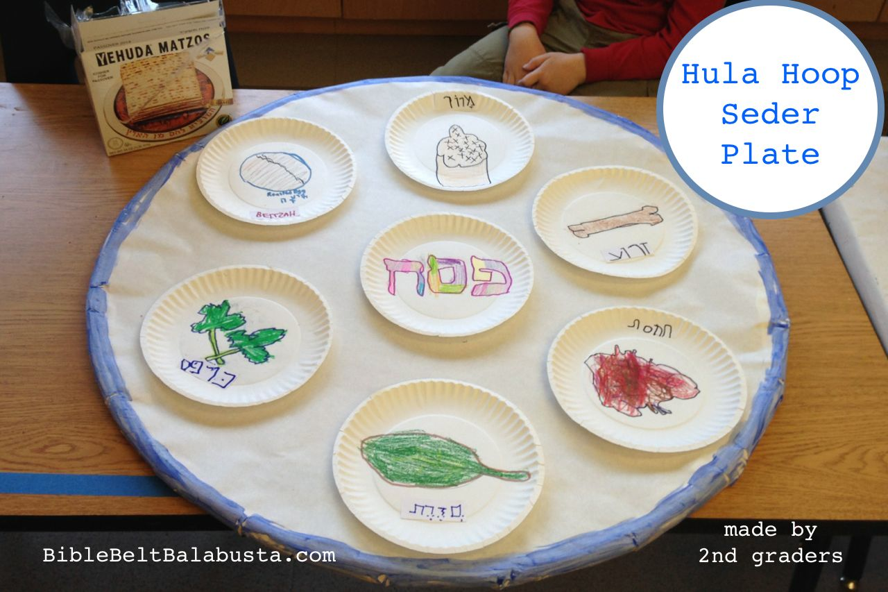 Hula Hoop Seder Plate (crayon drawings) & Hula Hoop Seder Plate: BIG Upcycle for Kids | Bible Belt Balabusta