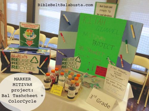Marker Mitzvah display at school program