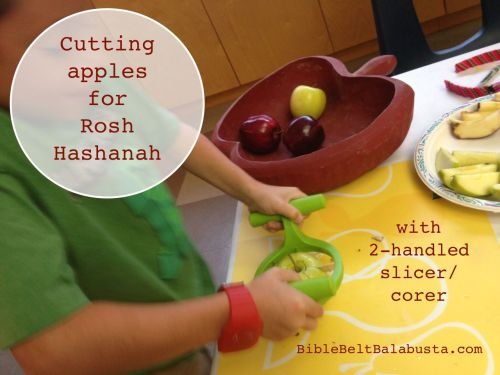 Cutting apples for Rosh Hashanah