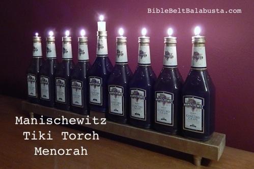 Manischewitz tiki torch menorah 2