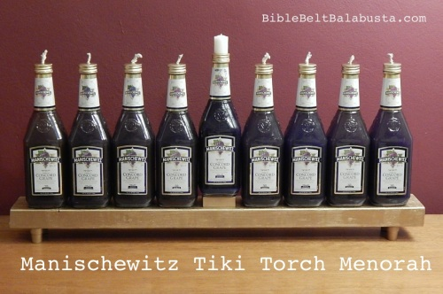Manischewitz Tiki Torch oil Menorah