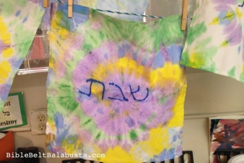 traced letters, cotton napkin, paint tie-dye