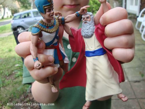 moses and pharaoh in hand